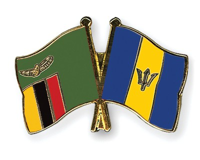 Crossed Flag Pins Zambia-Barbados