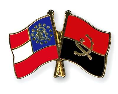 Crossed Flag Pins Georgia-Angola