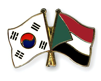 Crossed Flag Pins South-Korea-Sudan