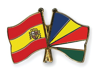 Crossed Flag Pins Spain-Seychelles