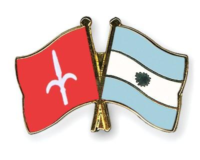 Crossed Flag Pins Trieste-Argentina