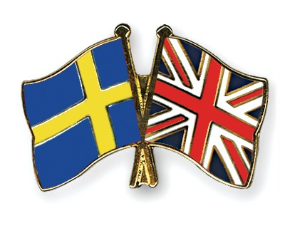 Special Offer Crossed Flag Pins Sweden-Great-Britain