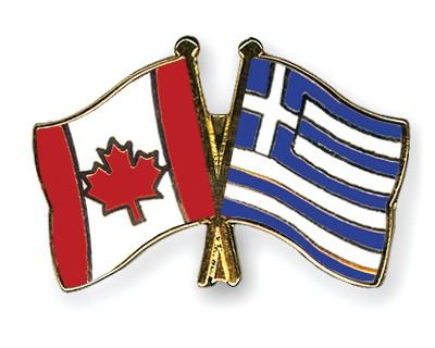 Crossed Flag Pins Canada-Greece