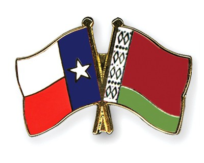 Crossed Flag Pins Texas-Belarus