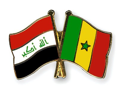 Crossed Flag Pins Iraq-Senegal