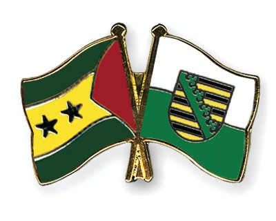 Crossed Flag Pins Sao-Tome-and-Principe-Saxony