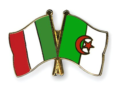Crossed Flag Pins Italy-Algeria