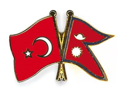 Crossed Flag Pins Turkey-Nepal