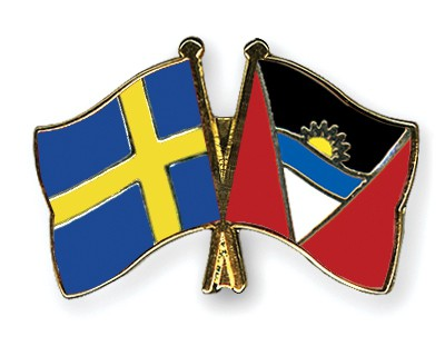 Crossed Flag Pins Sweden-Antigua-and-Barbuda
