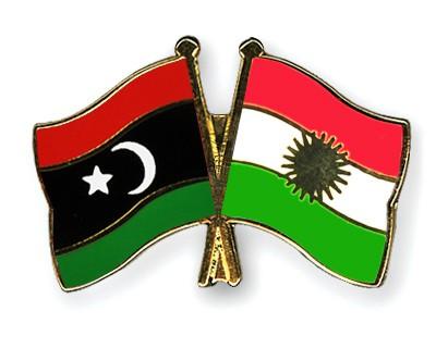 Crossed Flag Pins Libya-Kurdistan