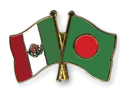 Crossed Flag Pins Mexico-Bangladesh