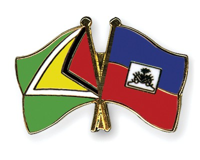 Crossed Flag Pins Guyana-Haiti
