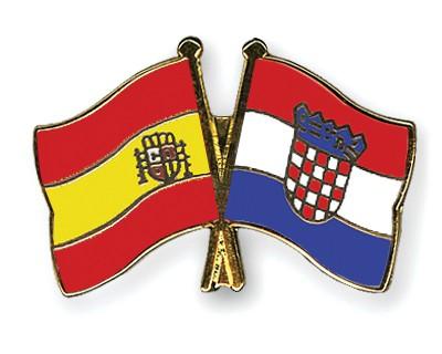 Crossed Flag Pins Spain-Croatia