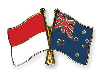 Crossed Flag Pins Indonesia-Australia