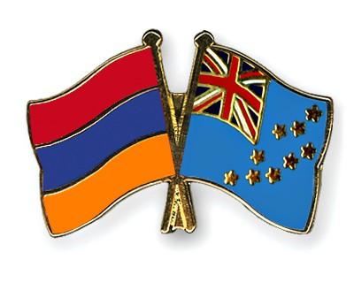 Crossed Flag Pins Armenia-Tuvalu