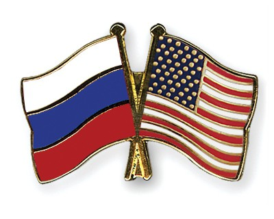 Crossed Flag Pins Russia-USA