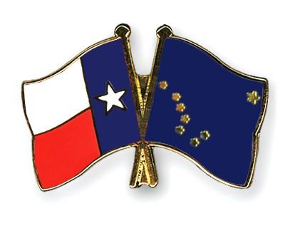 Crossed Flag Pins Texas-Alaska
