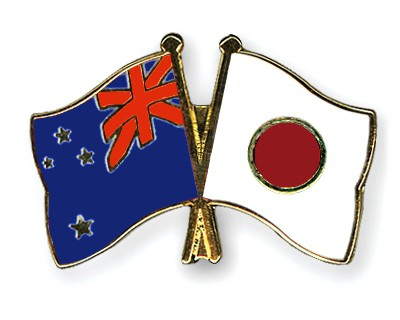 Special Offer Crossed Flag Pins New-Zealand-Japan