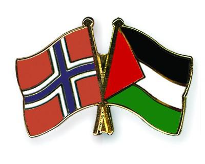 Crossed Flag Pins Norway-Palestine