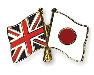 Crossed Flag Pins Great-Britain-Japan