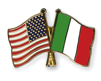 Crossed Flag Pins USA-Italy