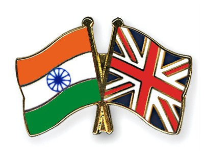Crossed Flag Pins India-Great-Britain