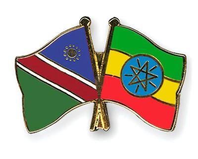 Crossed Flag Pins Namibia-Ethiopia