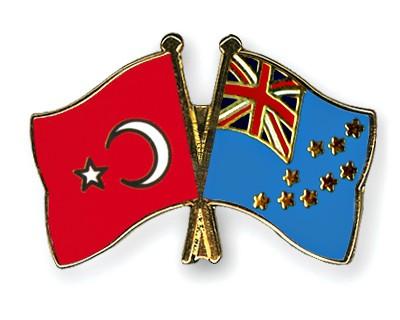 Crossed Flag Pins Turkey-Tuvalu