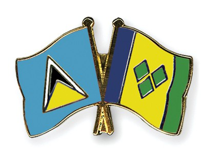 Crossed Flag Pins Saint-Lucia-Saint-Vincent-and-the-Grenadines