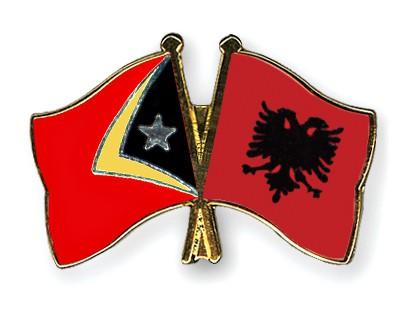 Crossed Flag Pins Timor-Leste-Albania