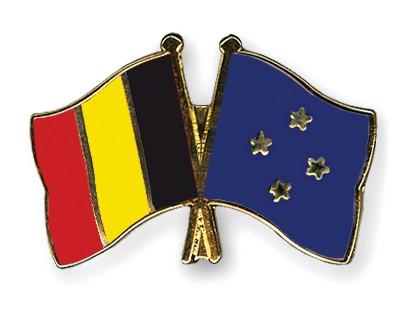 Crossed Flag Pins Belgium-Micronesia