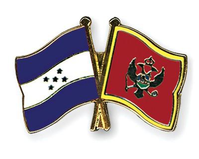 Crossed Flag Pins Honduras-Montenegro