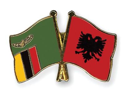 Crossed Flag Pins Zambia-Albania