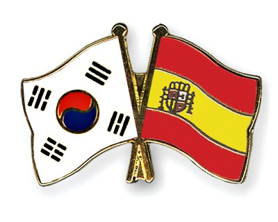 Crossed Flag Pins South-Korea-Spain