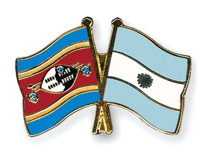 Crossed Flag Pins Swaziland-Argentina