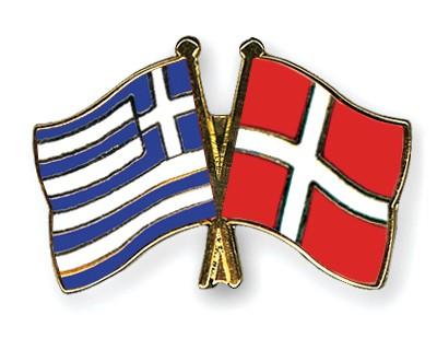 Crossed Flag Pins Greece-Denmark