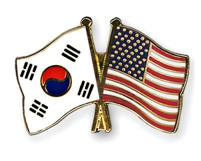 Crossed Flag Pins South-Korea-USA