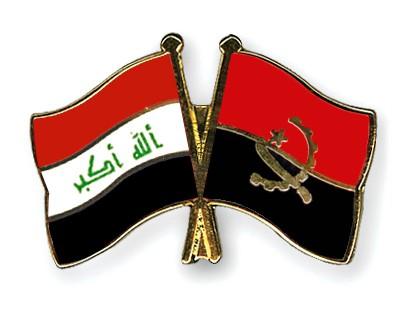 Crossed Flag Pins Iraq-Angola