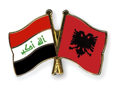 Crossed Flag Pins Iraq-Albania