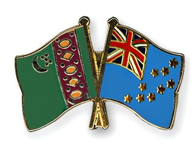 Crossed Flag Pins Turkmenistan-Tuvalu