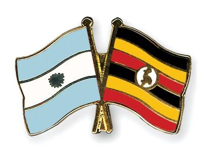 Crossed Flag Pins Argentina-Uganda