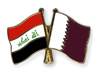 Crossed Flag Pins Iraq-Qatar