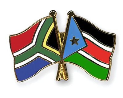 Crossed Flag Pins South-Africa-South-Sudan
