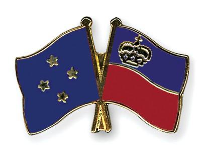 Crossed Flag Pins Micronesia-Liechtenstein