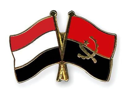 Crossed Flag Pins Yemen-Angola