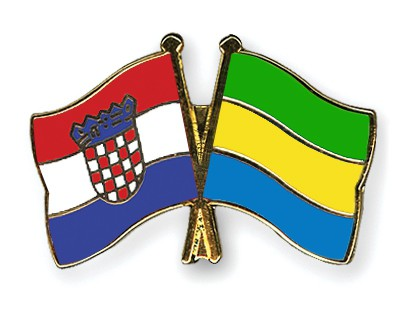 Crossed Flag Pins Croatia-Gabon