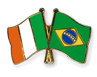 Special Offer Crossed Flag Pins Ireland-Brazil