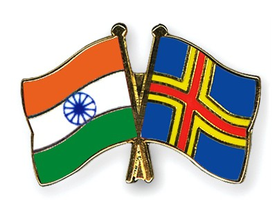 Crossed Flag Pins India-Aland