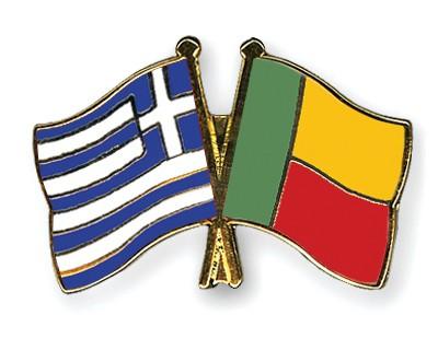 Crossed Flag Pins Greece-Benin
