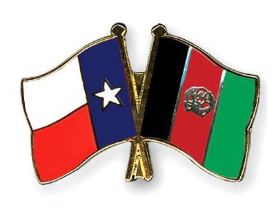 Crossed Flag Pins Texas-Afghanistan